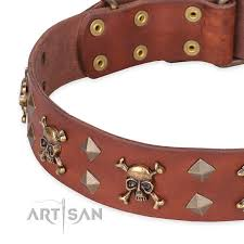 Comfortable Dog Collar Jolly Rojer U0027 Fdt Artisan Exquisite Pirate Design Leather Dog