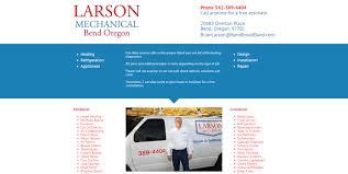 website design for larson mechanical bend web design