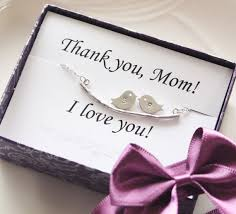 Mothers Necklace With Initials Mothers Day Gift Thank You Card With Two Bird Initial Necklace