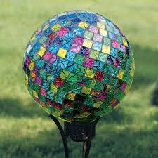 Gazing Ball And Stand Carson Home Accents 10 In Mosaic Jeweled Hues Gazing Ball