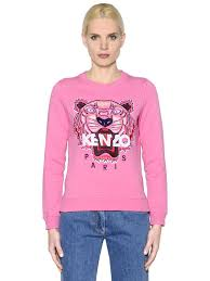 kenzo gun tiger kenzo tiger embroidered cotton sweatshirt pink