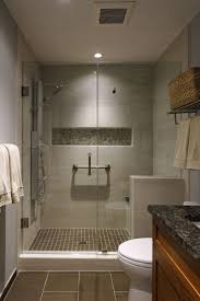 creamy beige with warm brown porcelain and glass shower tile is