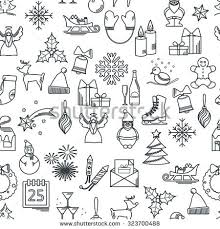 vector illustration christmas icons outline design stock vector