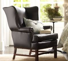 Wingback Chair Brisbane Thatcher Leather Wingback Chair Black Pottery Barn