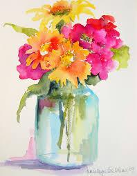 Flowers In Vases Images Pink Orange Yellow Flowers In Mason Jar Vase Watercolor By