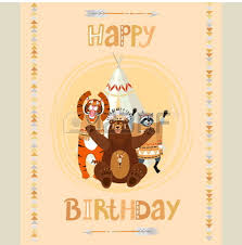 cute tematical american indian happy birthday card with funny
