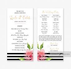 black and white wedding programs black white wedding program or menu card printed printable