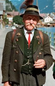 portrait of an elderly in traditional austrian dress german