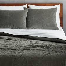 vail grey velvet bedding cb2