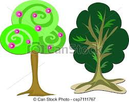 vectors illustration of tree duo here are two different types of