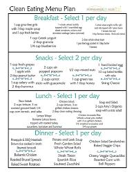 clean eating meal plan clean eating menu menu planners and