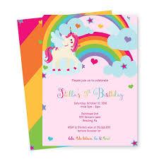 unicorn birthday invitations rainbow ideas