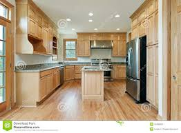 kitchen with oak wood cabinetry stock image image 13458301