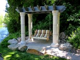 wonderful garden design with four pillar pergola roof added swing
