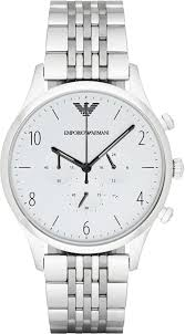 armani bracelet images Emporio armani bracelet style men 39 s watch in silver white dial jpg