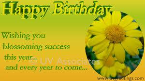 happy birthday wishing you blossoming success bright yellow