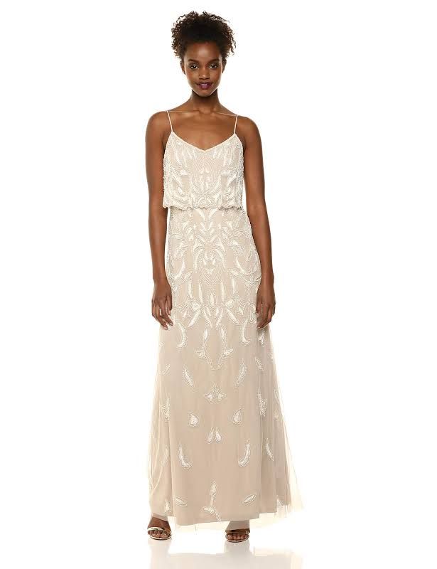 Adrianna Papell Beaded Popover Evening Dress Beige 14