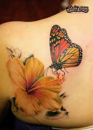 3d butterfly with flower tattoos on photos pictures