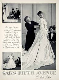 1949 ad vintage satin wedding dress fitting room bridal shop saks