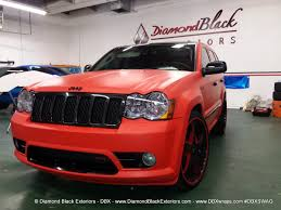 red jeep cherokee jeep grand cherokee srt8 wrapped in matte red 3m by dbx diamond