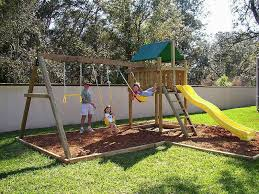 Backyard Playground Slides by Plan Ahead For Successful Swing Set Installation Outdoor Patio Ideas