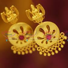 temple design gold earrings er5517 gold plated temple jewellery earrings traditional gold