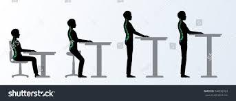 ergonomic height adjustable desk table poses stock vector