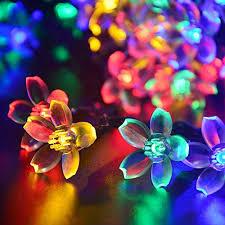 Decorative Lighting String Qedertek Fairy Blossom Flower Solar String Lights 21ft 50 Led