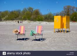 Two Beach Chairs Two Beach Chairs And Yellow Dress Cabin Number 3 On Sandy Pärnu