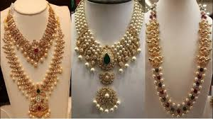chain necklace design images Gold and pearl chain necklace designs jpg