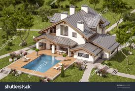 3d rendering modern cozy house chalet stock illustration 618117275