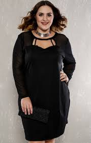 black strappy sheer long sleeve plus size party dress