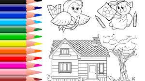 learn colors for kids house coloring page rabbit coloring book
