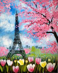 spring painting ideas paint unwind paris spring flowers acrylic canvas painting o