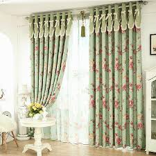 Curtains With Brass Eyelets Romantic Floral Green Blackout Shabby Chic Curtains