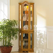 curio cabinet with light southern enterprises machellen mahogany lighted corner curio cabinet