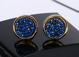 dark blue opal natural round druzy stud earrings sapphire navy blue dark stone