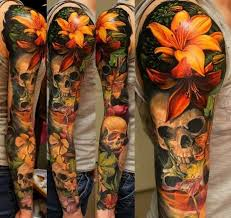 home design extraordinary lily tattoo designs for men skull