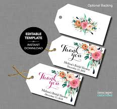 Thank You Tags Wedding Favors Templates by Editable Bridal Shower Favor Tags Template Floral Rustic