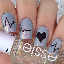 medical heart nails essie romantic love nail art nail design