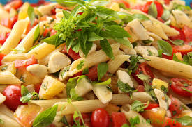 Laura In The Kitchen Pasta Penne Pasta Salad W Fresh Mozzarella And Heirloom Tomatoes The
