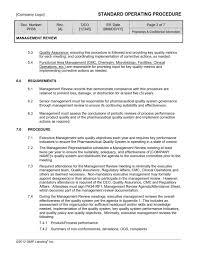 management review sop template ph38 gmp qsr u0026 iso