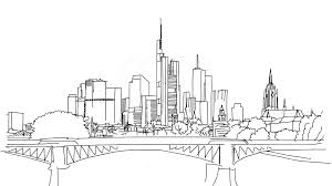 frankfurt city outline animation hand drawn sketch build up youtube