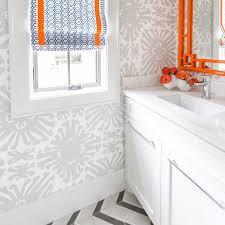 Orange Bathroom Ideas Colors Grey And Orange Bathroom Features Walls Clad In Gray Print