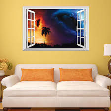 fake window view wall decal wall murals you ll love earth planet crash fake window view wall decals removable