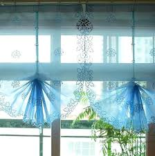 Pull Up Curtains Kitchen Sheer Curtains 2 Colors Blue Or White Country Style Pull