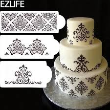 Aliexpress Com Buy 3pcs Wedding Cake Stencil Plastic Cookie Cake