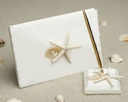 starfish shell wedding guest book and pen set wedding