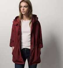 maroon parka parka jackets women austria massimo dutti