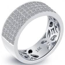 mens white gold diamond wedding bands 1 48 carat diamond mens pave wedding band ring 14k white